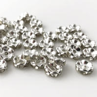 100 Rhinestone rondelle 8mm spacer beads Crystal